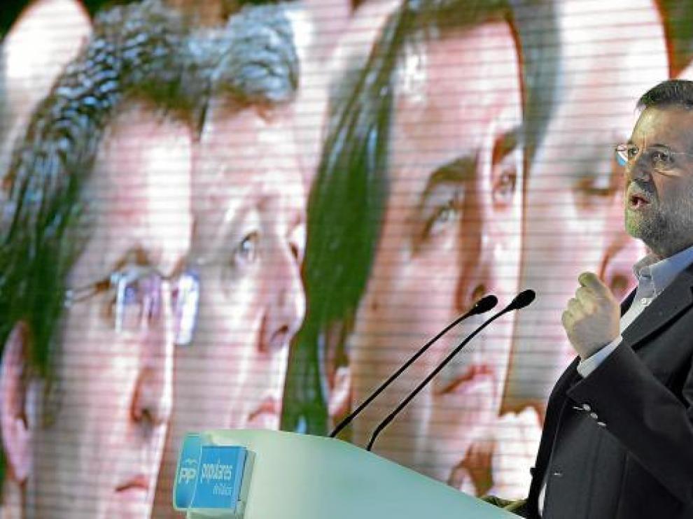 El presidente del PP, Mariano Rajoy, en la clausura de la convención de los populares gallegos.