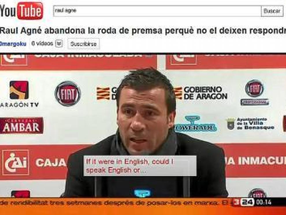 El vídeo de Raúl Agné en El Alcoraz, colgado en Youtube, recibió ayer miles de visitas.