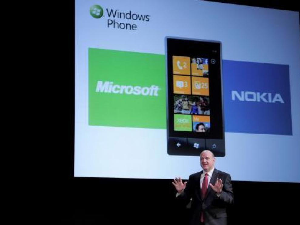 El presidente de Microsoft, Steve Ballmer, durante la conferencia que pronunció en Barcelona.