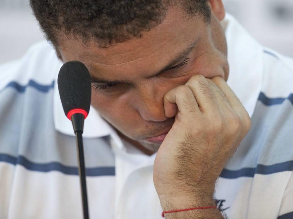 Ronaldo, visiblemente emocionado, en su adiós