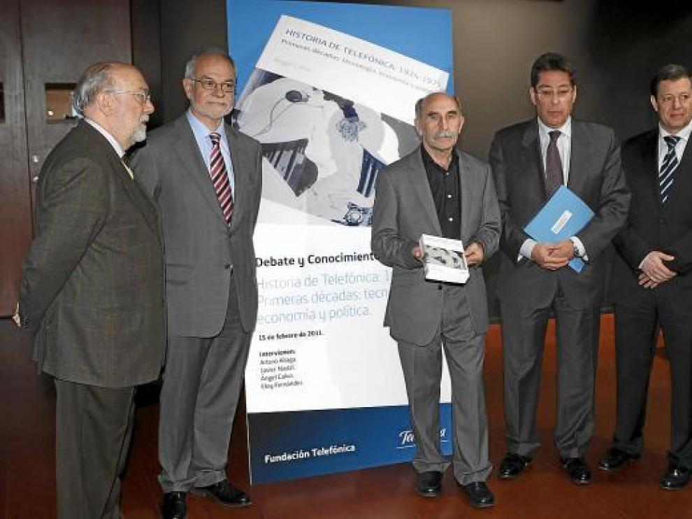Fernández Clemente, Nadal, Calvo, Aliaga y Tartón, en la presentación del libro.