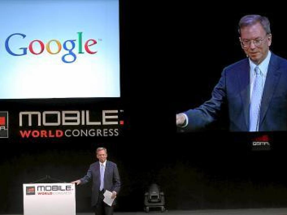 El presidente de Google, Eric Schmidt, ayer en Barcelona.