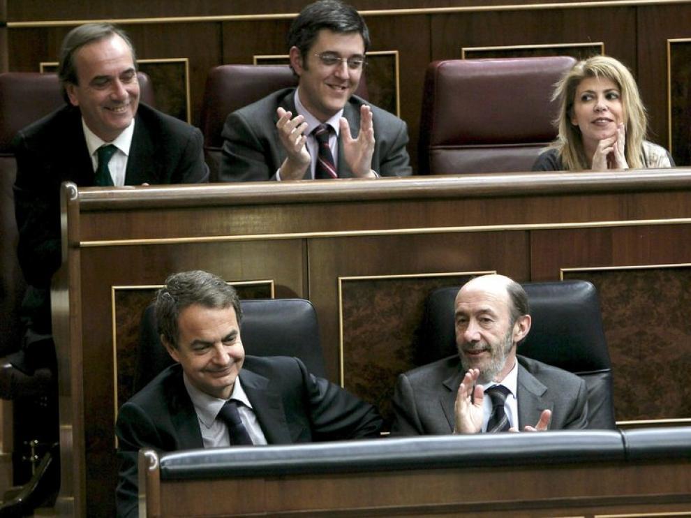 Zapatero y Rubalcaba en el pleno del Congreso