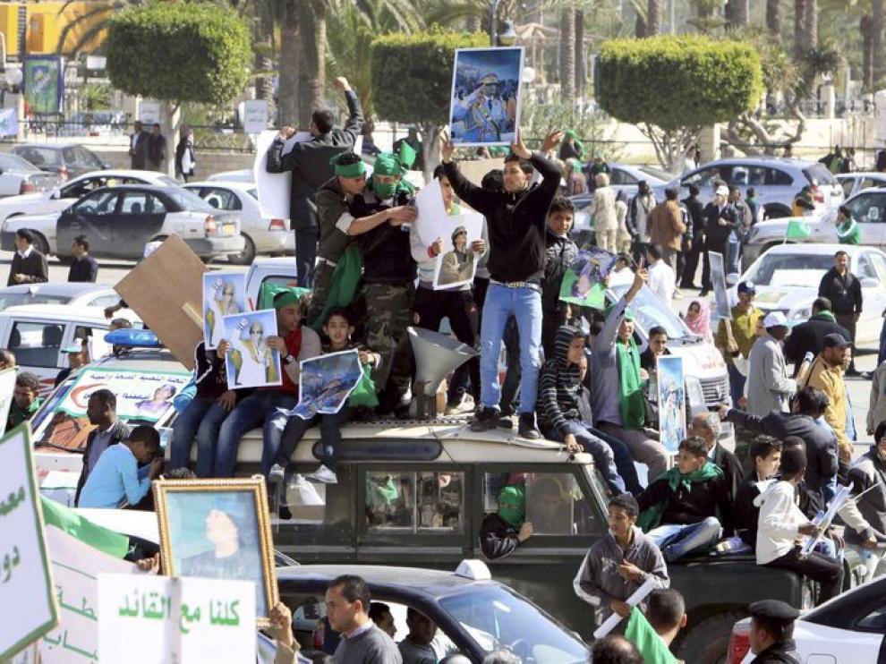Manifestaciones de simpatizantes de el Gadafi