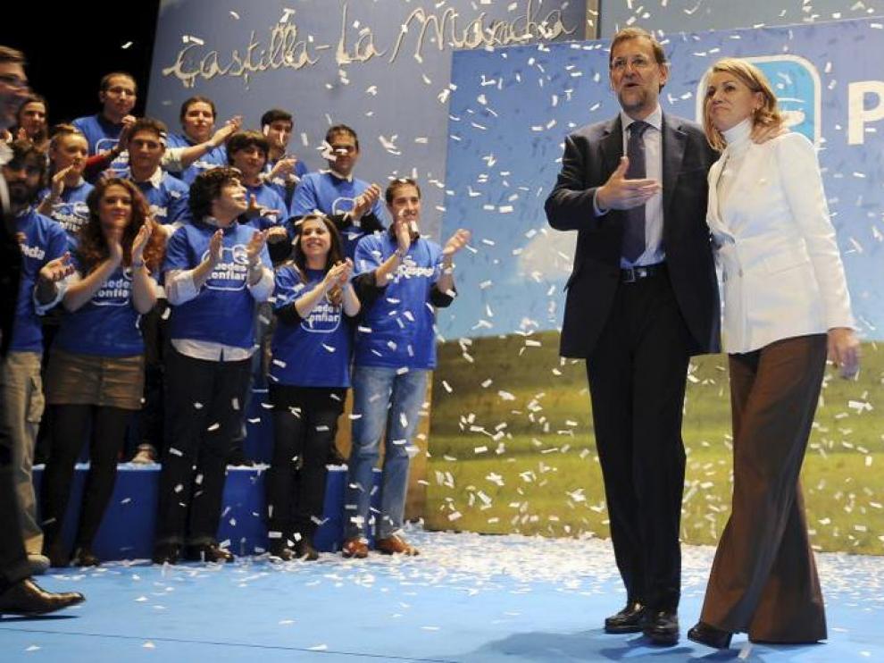 Mariano Rajoy y María Dolores de Cospedal, durante la presentación en Albacete.