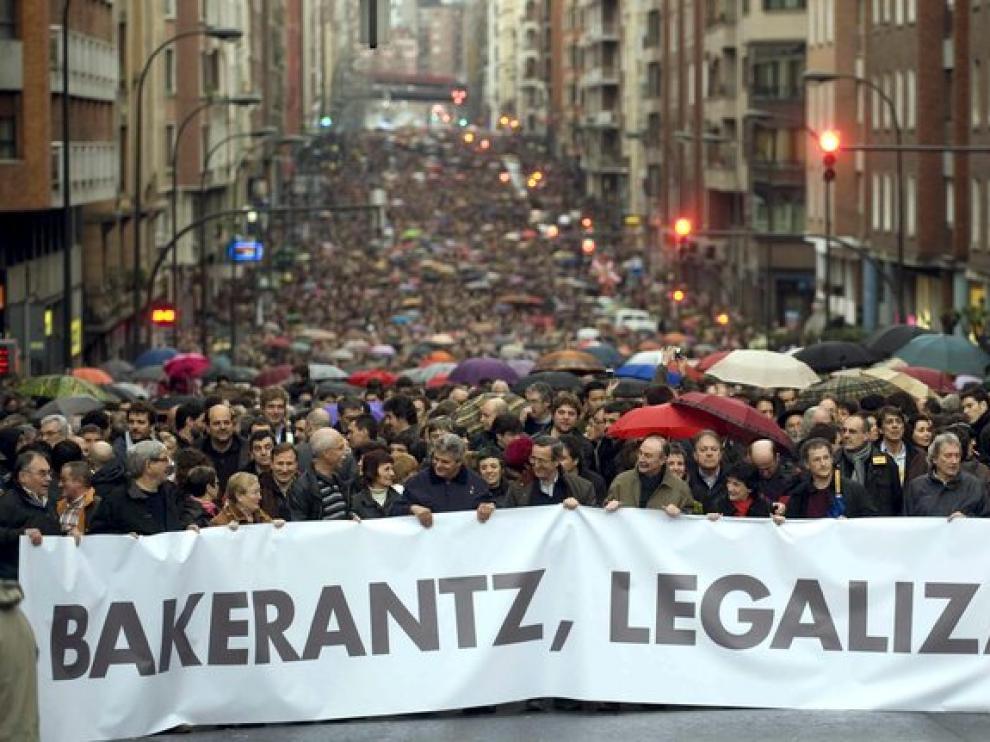 La manifestación recorría esta tarde las calles de Bilbao