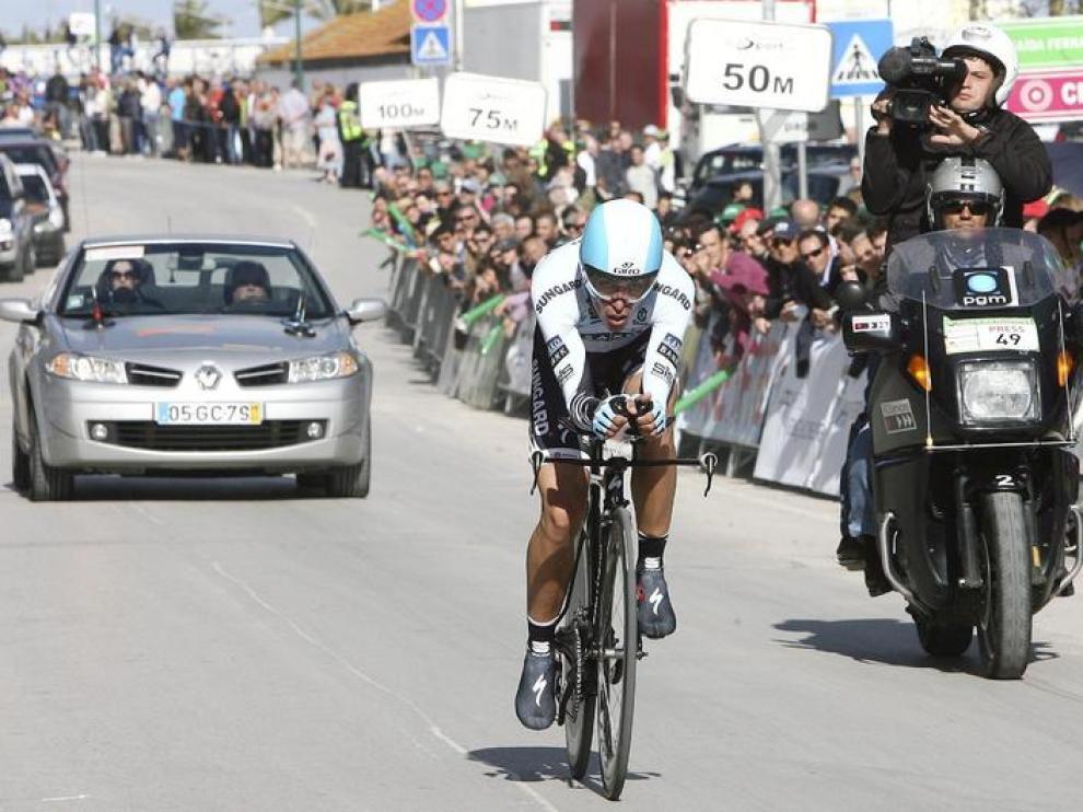 Alberto Contador durante la contrarreloj