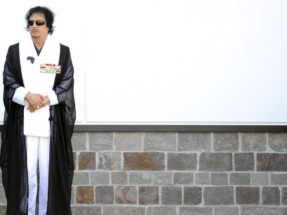 Muamar al Gadafi, durante la cumbre del G8 en L'Aquila