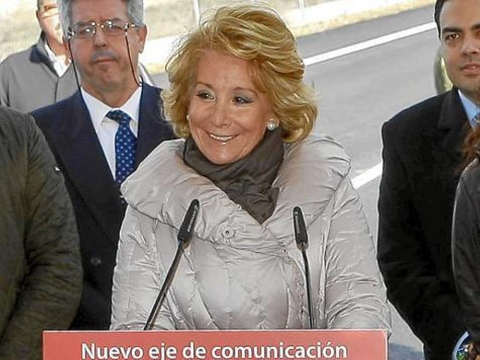 Esperanza Aguirre, ayer cuando hizo público que le tienen que extirpar un tumor.