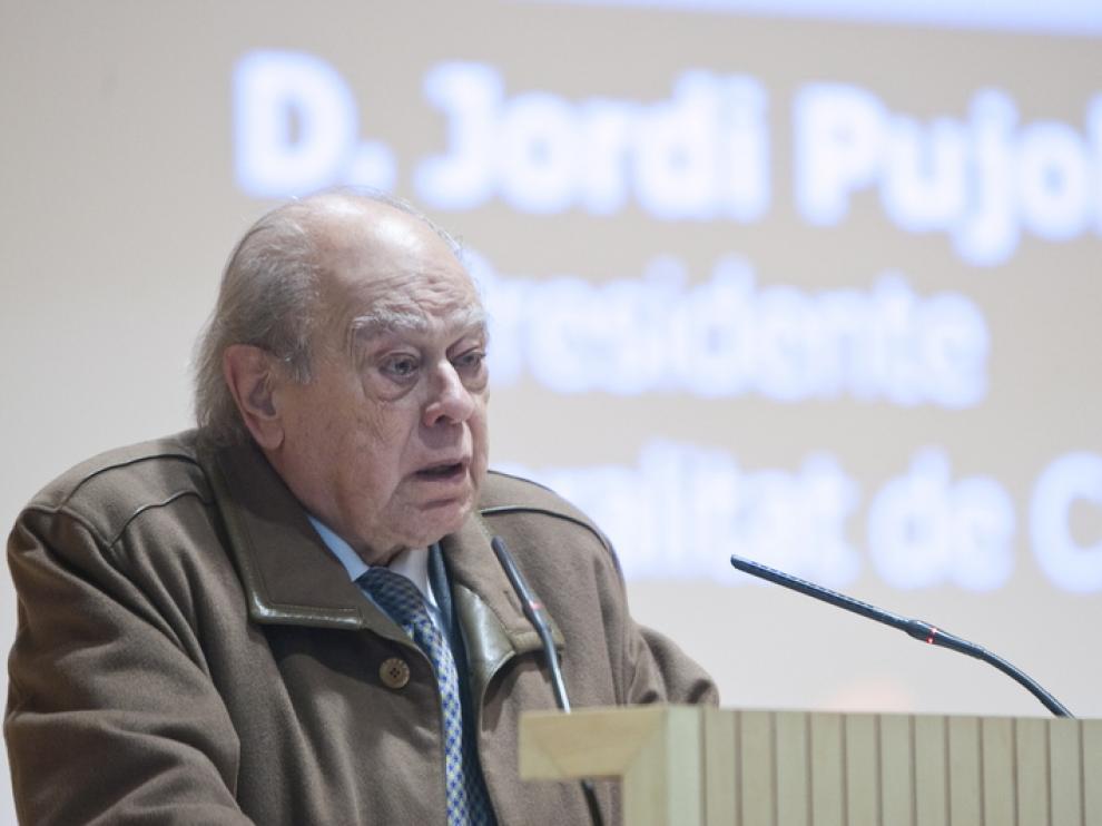 Jordi Pujol, durante la conferencia en Zaragoza.