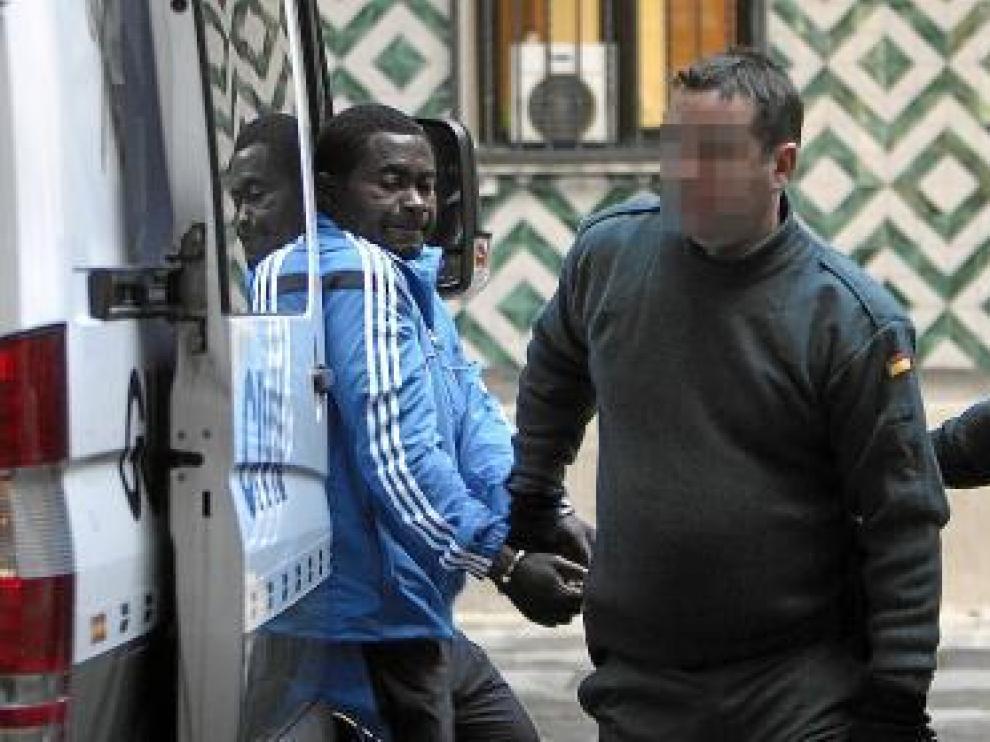 El ghanés condenado por el homicidio, ayer, antes de la vista.
