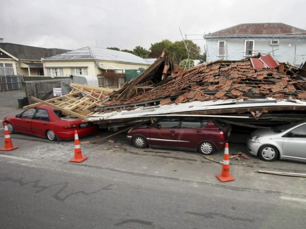 Multitud de destrozos tras el seísmo en Nueva Zelanda.