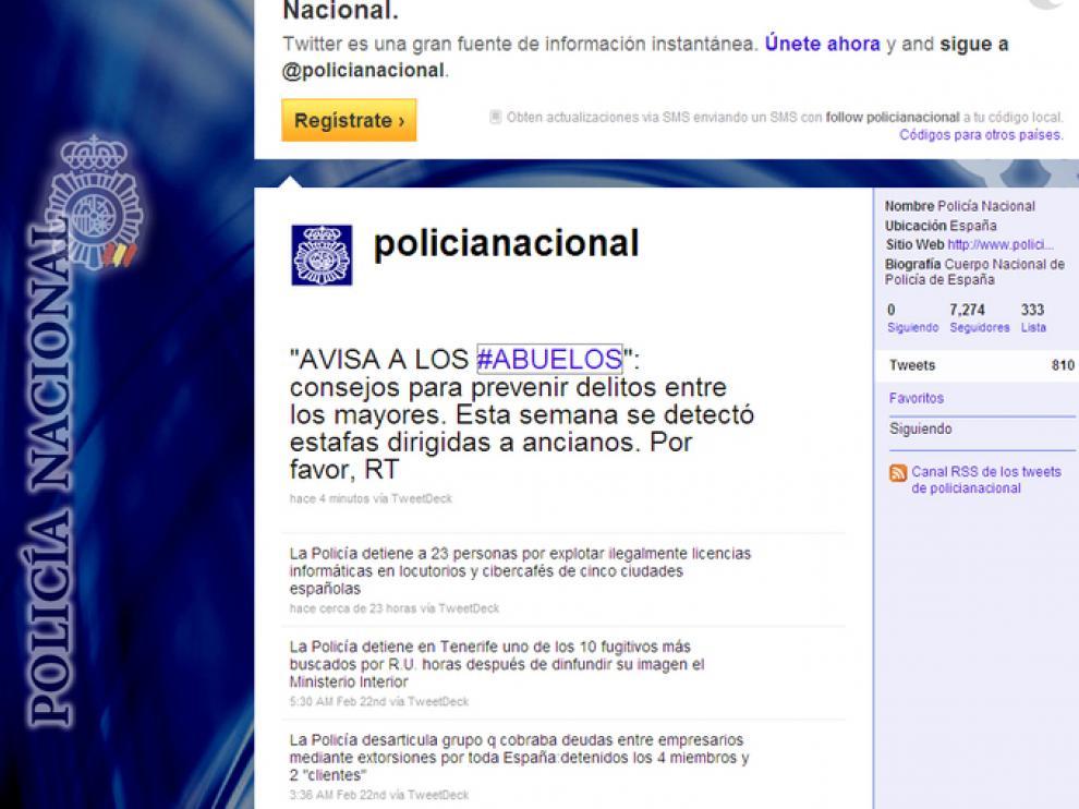 Pagina de la Policía Nacional en Twitter
