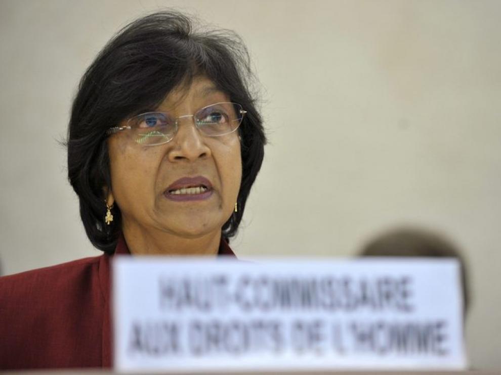 La alta comisionada de Derechos Humanos, Navi Pillay, durante su ponencia sobre Libia en Ginebra