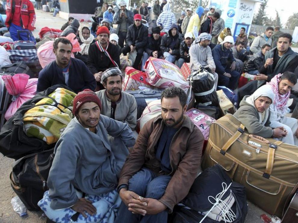 Refugiados libos en la frontera de Túnez