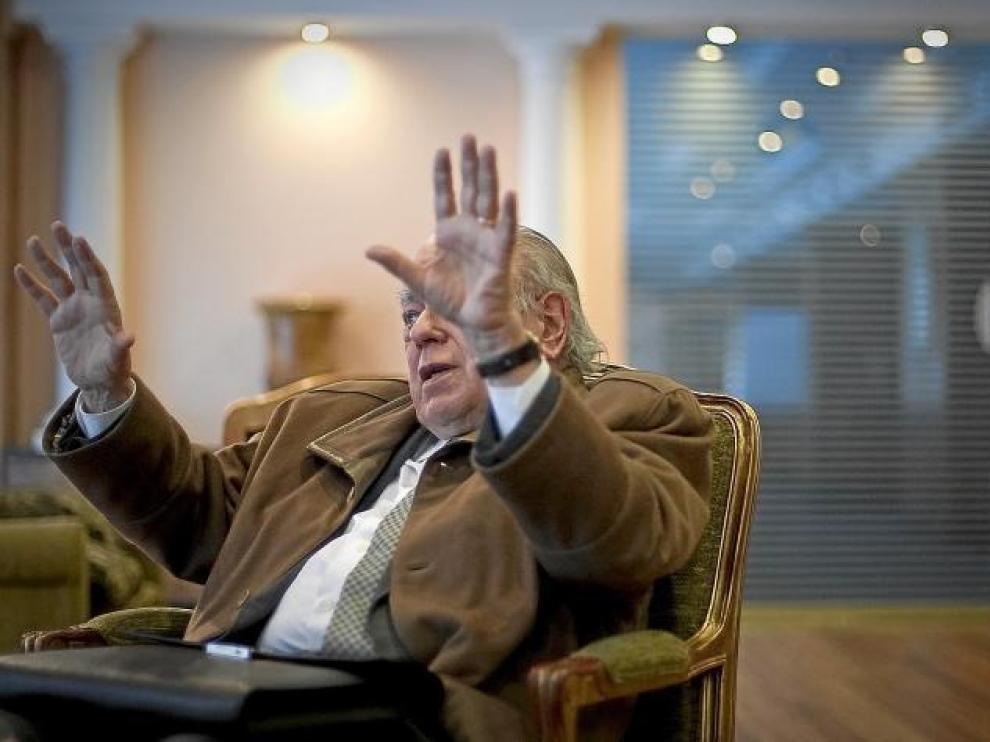 Jordi Pujol, el pasado martes, 22 de febrero, en un salón del hotel Meliá de Zaragoza, ciudad donde ofreció una conferencia.