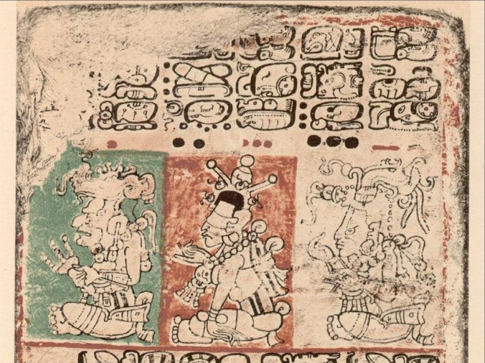Detalle del documento descifrado, el llamado Código Maya de Dresde