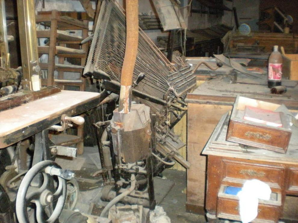 Parte de la maquinaria del siglo XVIII de la imprenta Blasco.