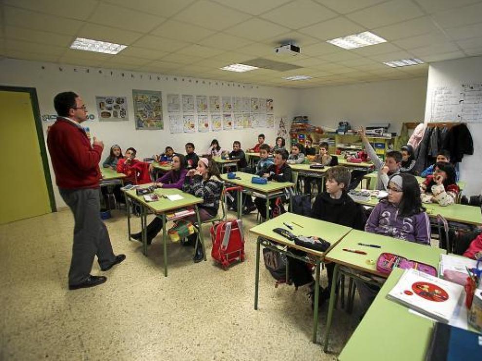 Una clase de un colegio aragonés