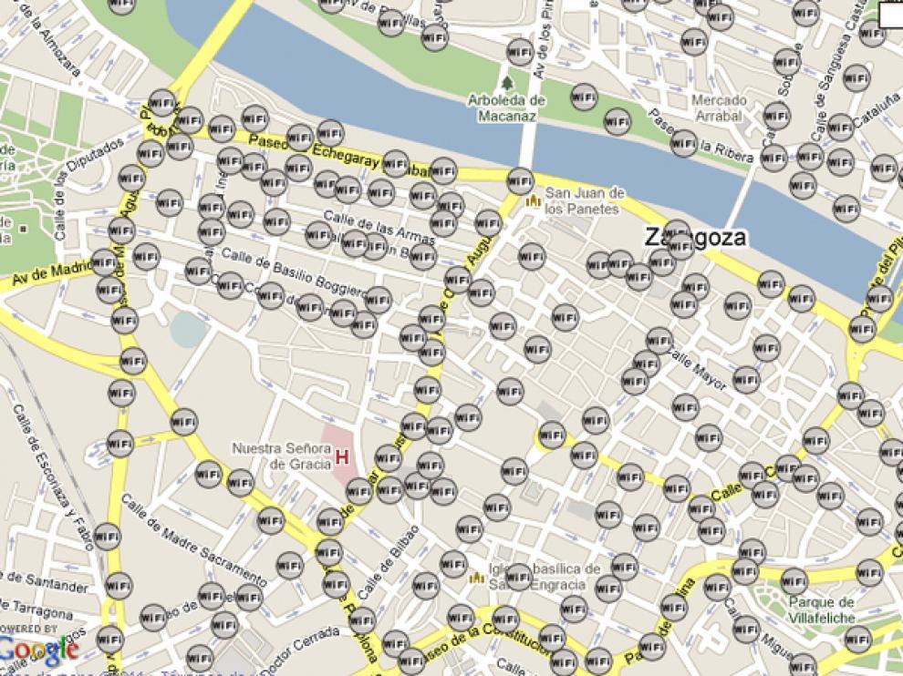 Imagen de los puntos de acceso en el casco histórico y sus alrededores