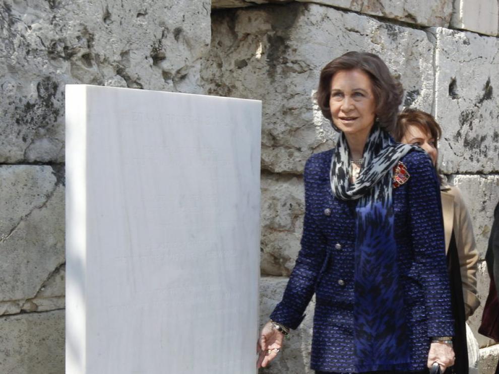 La reina Sofía durante su visita en Atenas.
