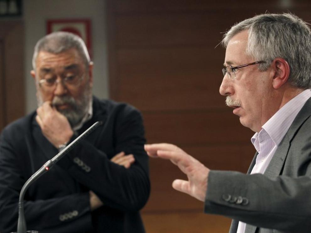 Los secretarios generales de CC. OO., Ignacio Fernández Toxo, y de UGT, Cándido Méndez