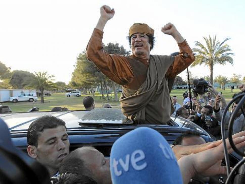Gadafi en los inicios del conflicto.