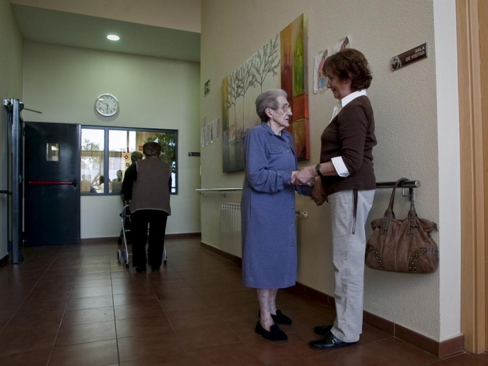 Una anciana en un residencia.