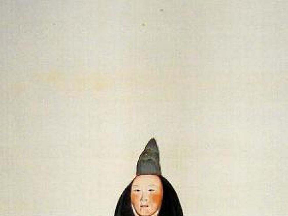 Un grabado histórico de teatro Noh.