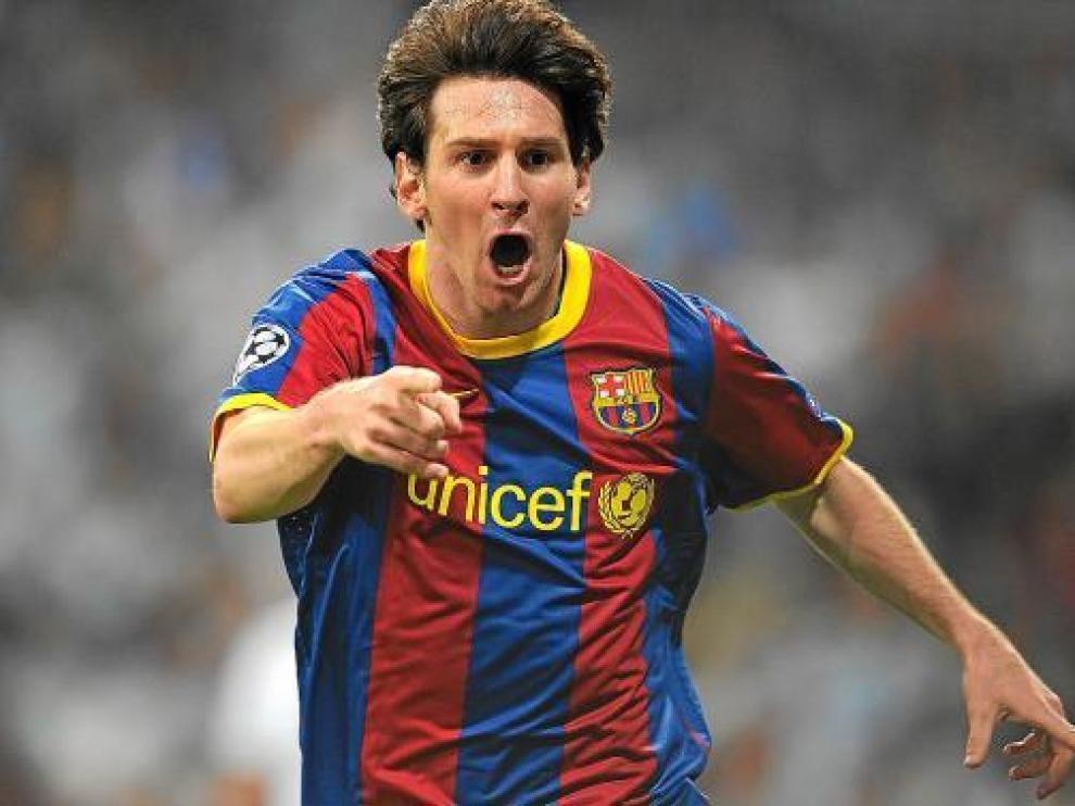 Messi celebra uno de los goles con el Barcelona esta temporada.