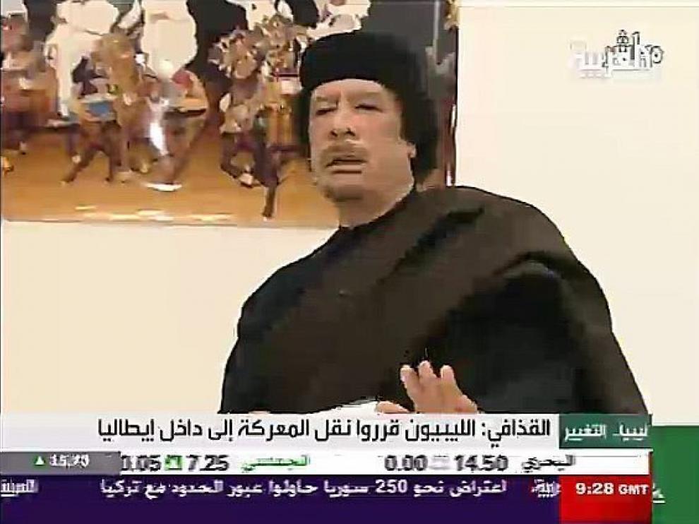 Gadafi, durante un discurso en televisión.