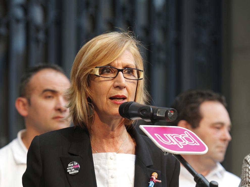 Rosa Díez durante un acto en Zaragoza
