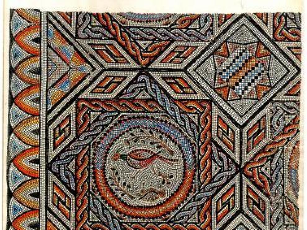 Detalle del mosaico de Artieda, según dibujo de Enrique Osset.