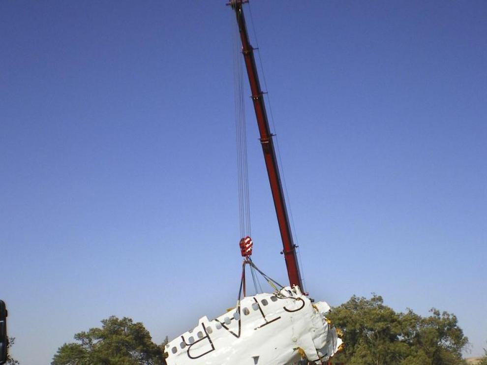 Restos del fuselaje del avión de Spanair siniestrado en agosto de 2008 en Barajas