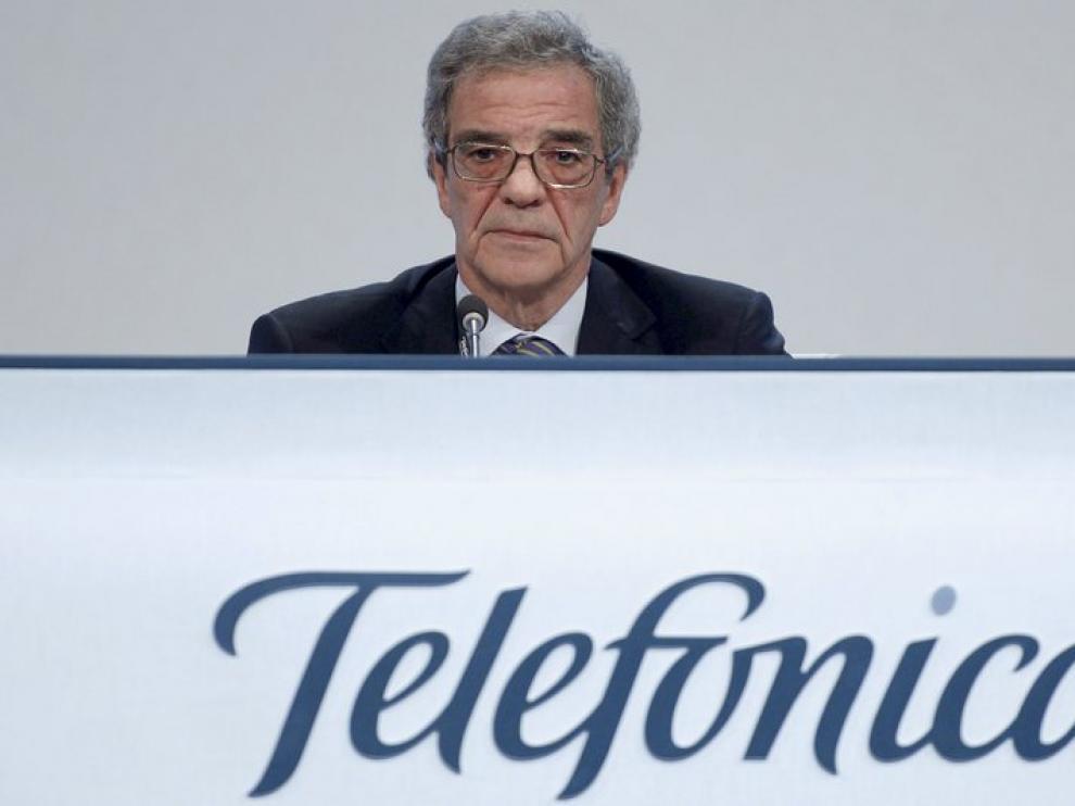 El presidente de Telefónica, en una junta de accionistas.
