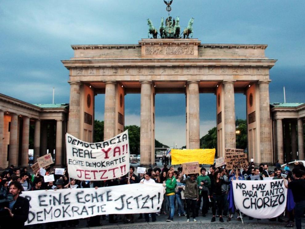 Imagen de la conentración del 15M en Berlín, este jueves