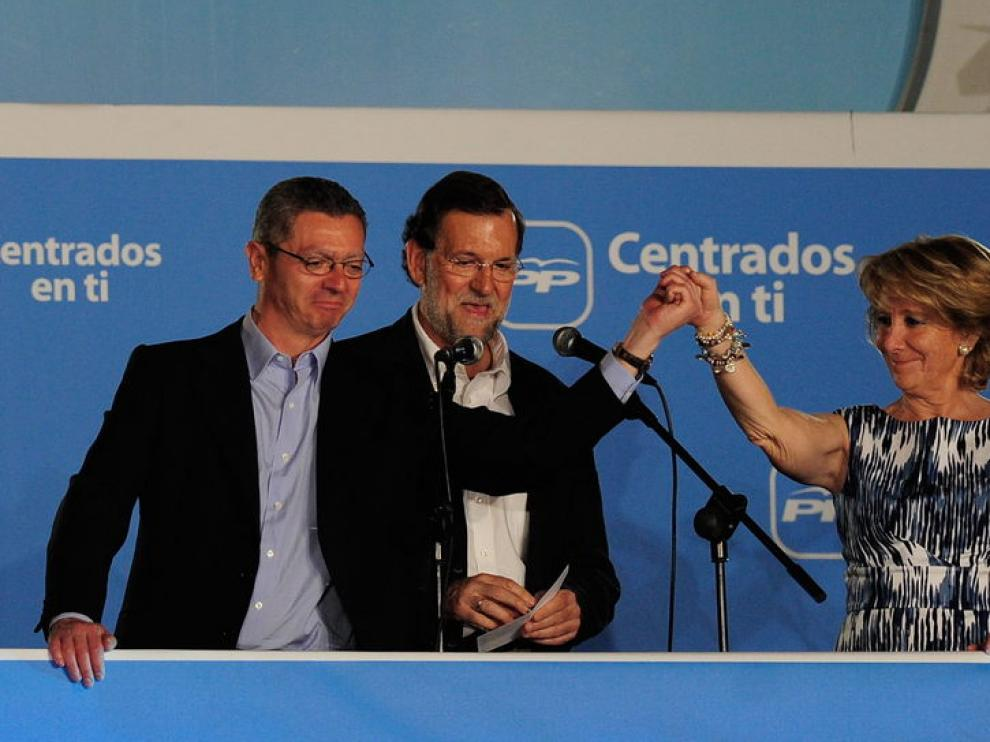 Gallarón, Rajoy y Aguirre en una imagen de archivo.