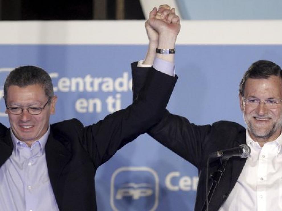 Alberto Ruiz Gallardón, Esperanza Aguirre y Mariano Rajoy, en una imagen de archivo