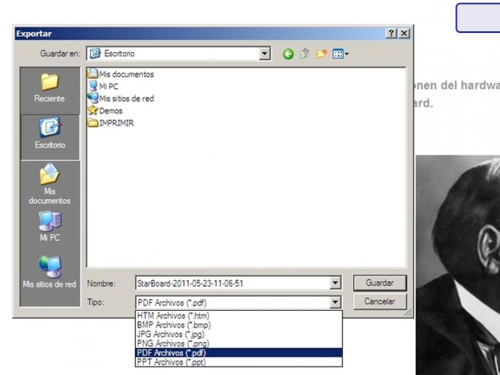 Cómo guardar archivos creados con la pizarra digital