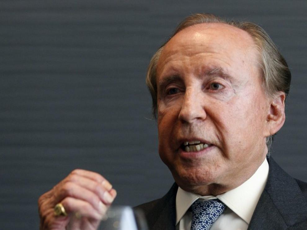 Ruiz-Mateos durante la rueda de prensa celebrada hoy en Madrid.