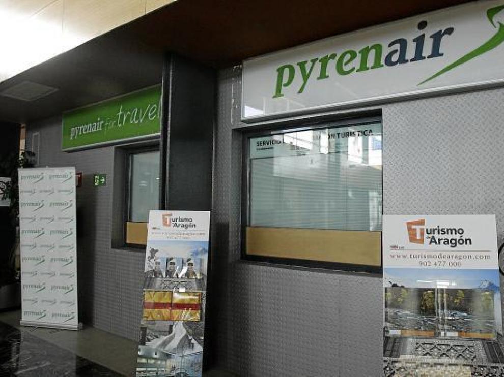Las taquillas de Pyrenair en el aeropuerto de Huesca cerraron ya a mediados de febrero.