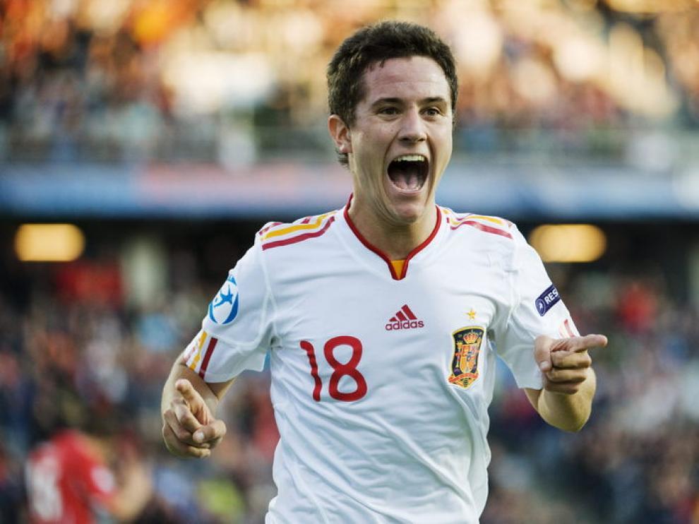 Ander Herrera celebra un gol con la sub 21