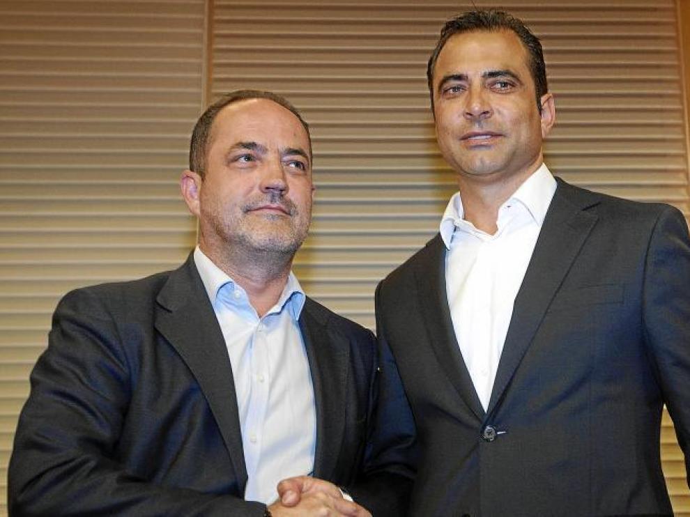 Agapito Iglesias y Esnáider, el día de la presentación del argentino como técnico del filial y jefe de la Ciudad Deportiva