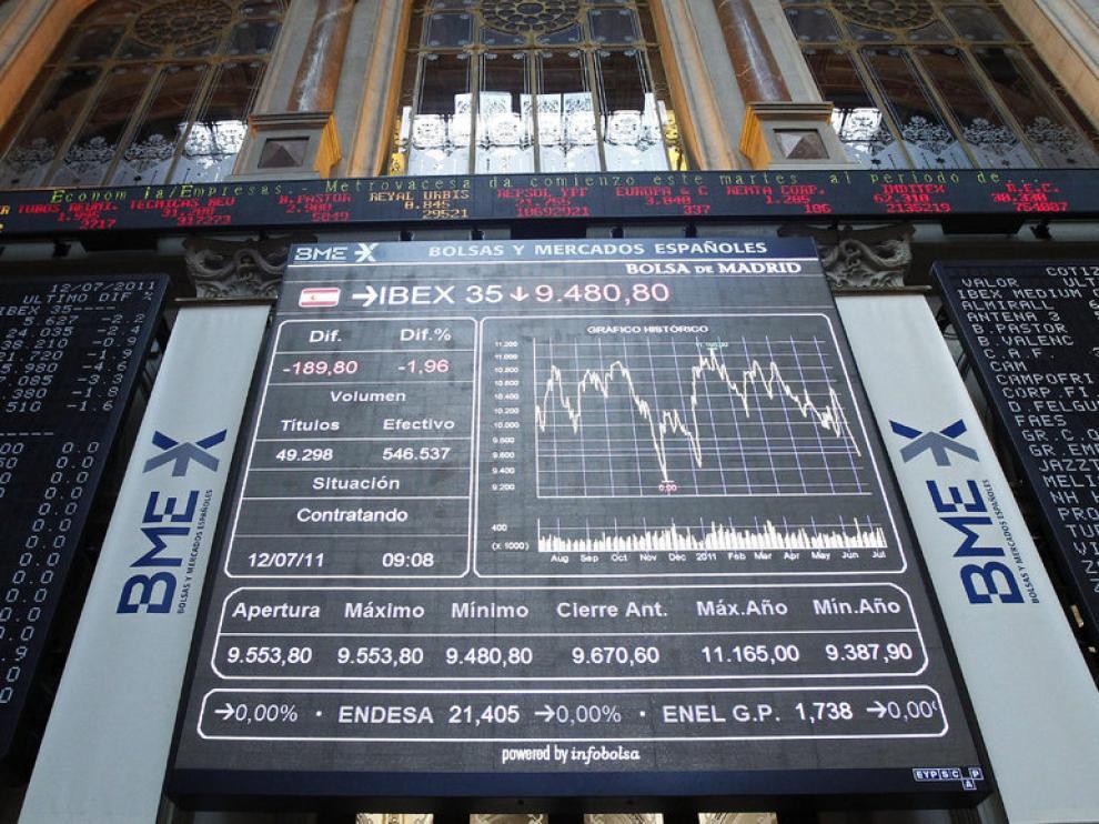 Panel informativo del IBEX 35 situado en el parqué madrileño.