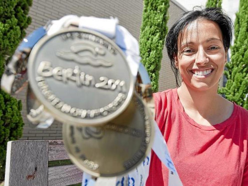 Teresa Perales con las medallas que logró en el pasado Campeonato de Europa.
