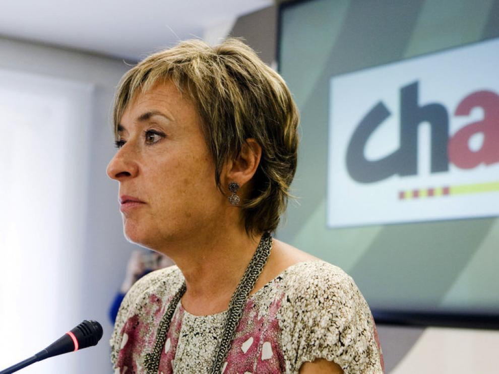 Nieves Ibeas (CHA) durante la rueda de prensa que ofreció para valorar el discurso de la candidata del PP