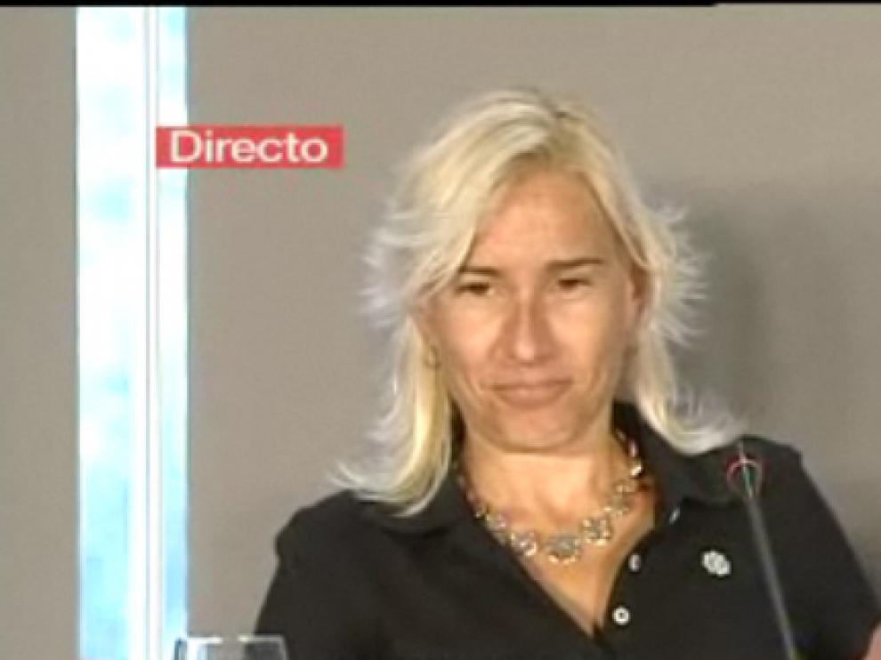 Imagen de Marta Domínguez durante su rueda de prensa de este viernes