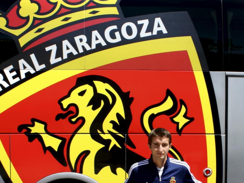 Kevin Lacruz, en Navaleno durante la pretemporada del Zaragoza.
