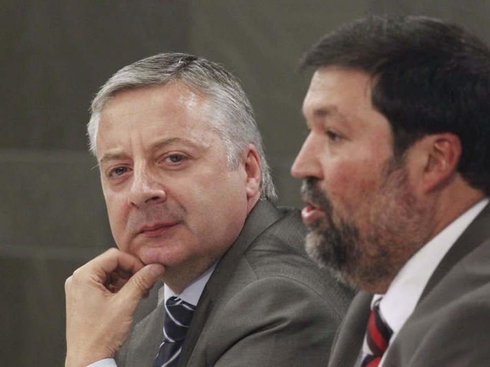 José Blanco y Francisco Caamaño durante la rueda de prensa posterior al Consejo de Ministros