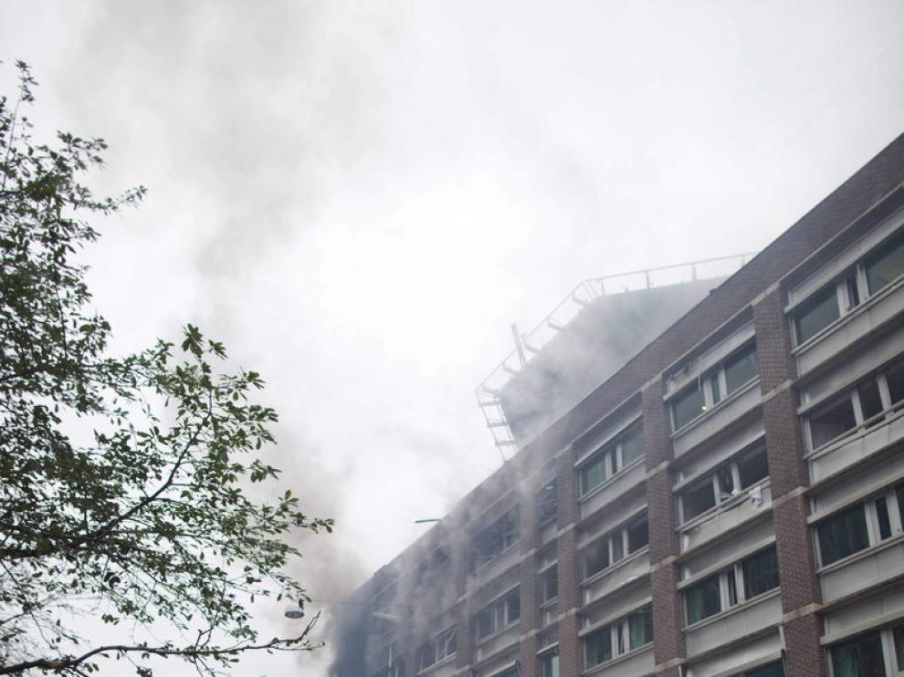 Imagen de la zona de Oslo en la que Breivik colocó la bomba el pasado julio